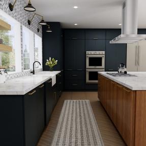 Navy kitchen cabinets 3D design