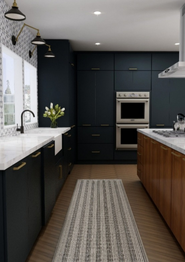 Navy kitchen cabinets 3D design