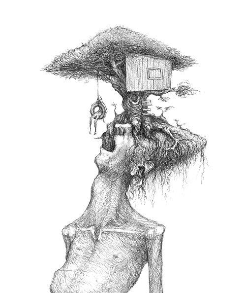 homem se divertindo sobre as raízes de sua angústia - impressão certificada