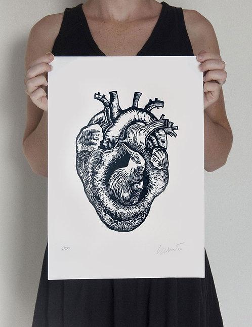 coração de barro - xilogravura original