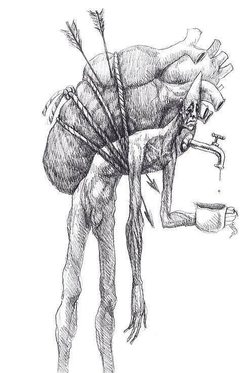 Desenho original - homem amando até a última gota