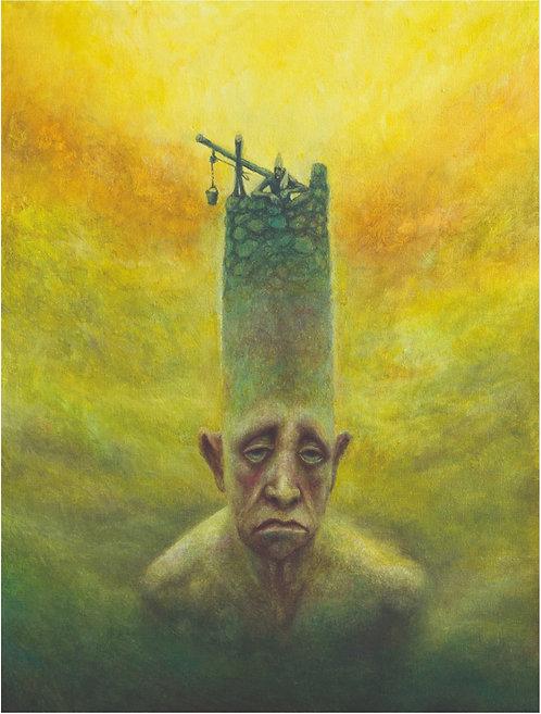 homem construindo uma torre para ficar mais longe do seu próprio coração