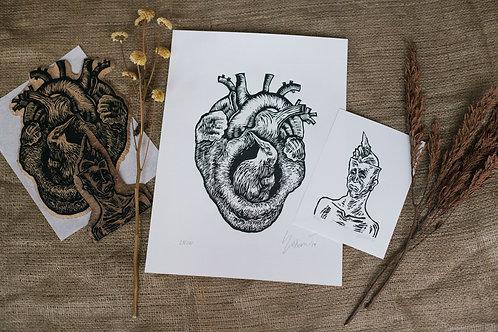 kit - xilogravura coração de barro + xilo homem sentindo a falta de uma saudade