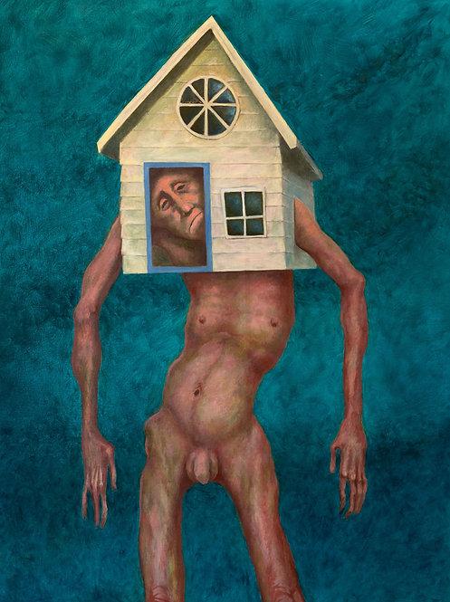 Pintura original - homem morando onde não lhe cabe mais