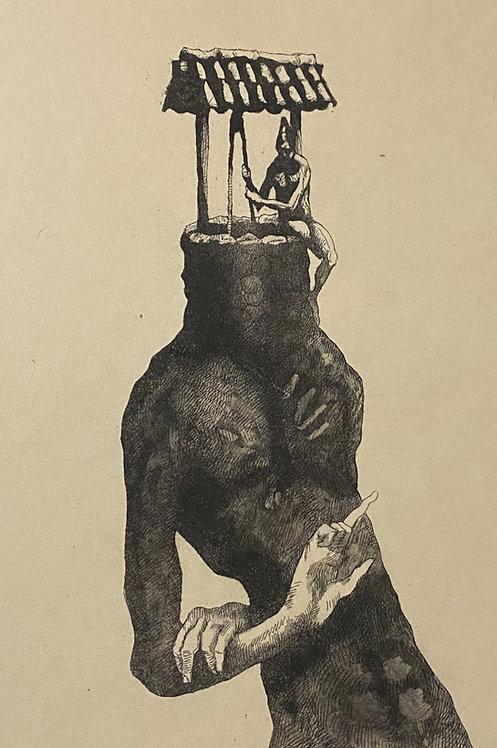 homem com profunda sede de si — gravura em metal