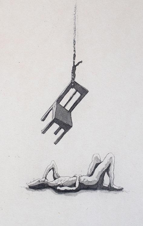 homem matando uma ideia de morrer — gravura em metal
