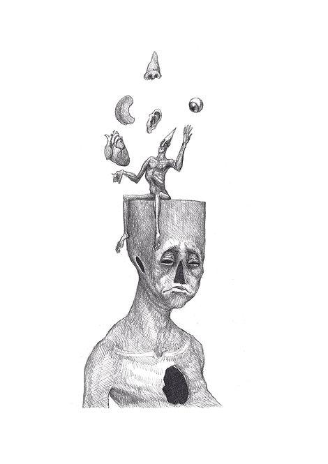 Desenho original - homem numa brincadeira de sentir, sem sentido