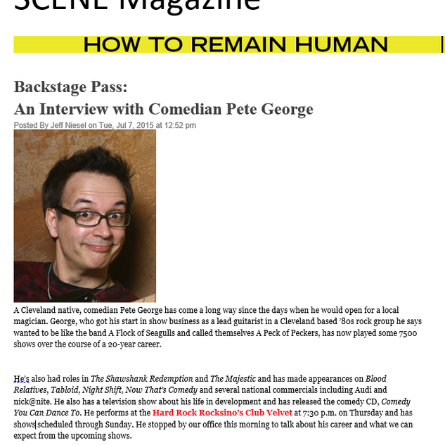 Pete George-CBS-NBC-ABC-FOX-Stand Up Com