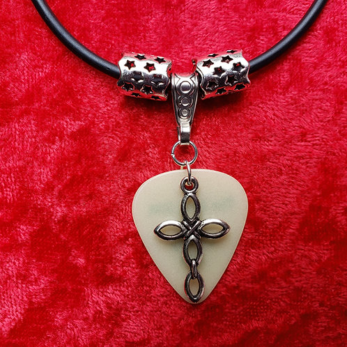 """Large Cross - """"Glow"""" Guitar Pick Necklace"""