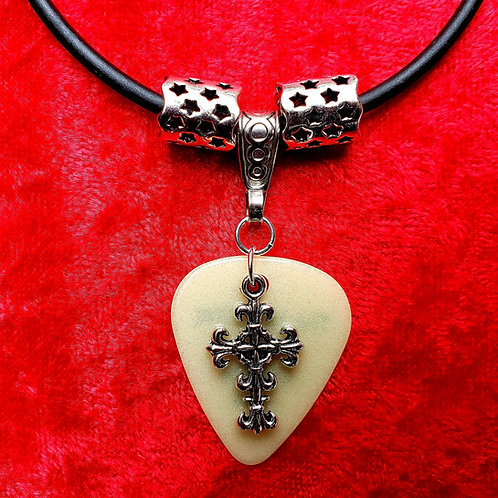 """Small Cross - """"Glow"""" Guitar Pick Necklace"""