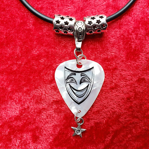 Comedy Mask Guitar Pick Necklace