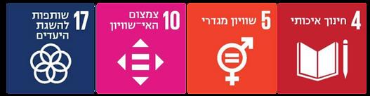 """יעדי האו""""ם לפיתוח בר קיימא: חינוך איכותי, שוויון מגדרי , צמצום האי-שוויון, שותפות להשגת יעדים. תמונות מאתר SDG ישראל"""