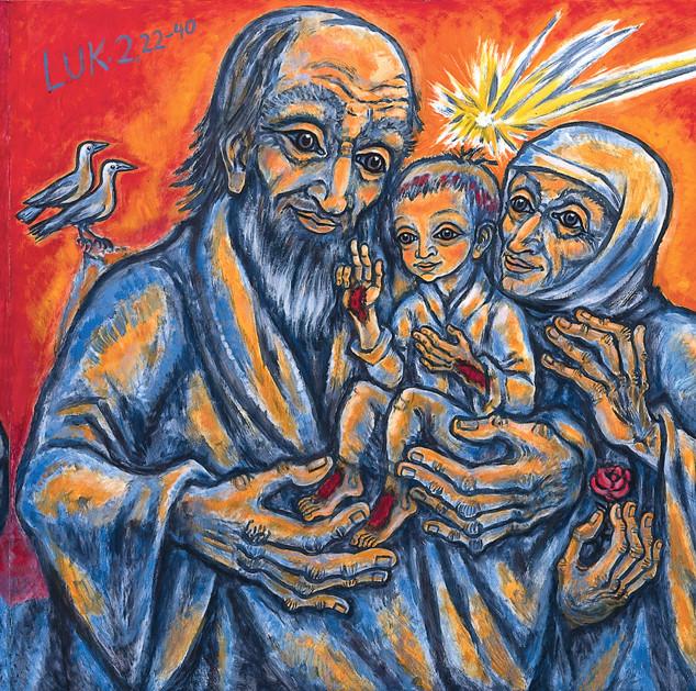 Heilige Familie 1994 Öl auf Tannenholz