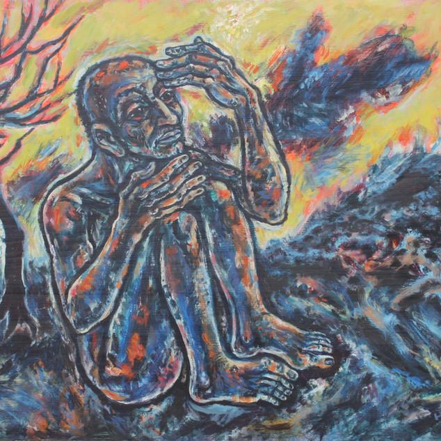 Hiob 1984 Öl auf Tannenholz