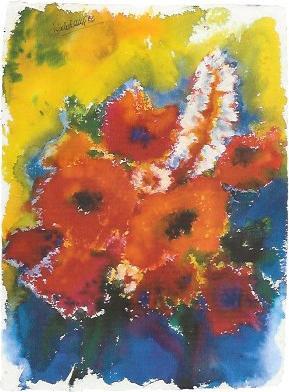 Roter Mohn, Aquarell 1986