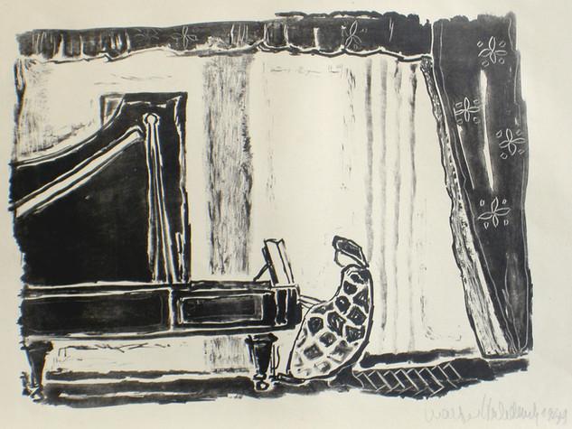Frau am Flügel 1949 35,5 x 50 cm