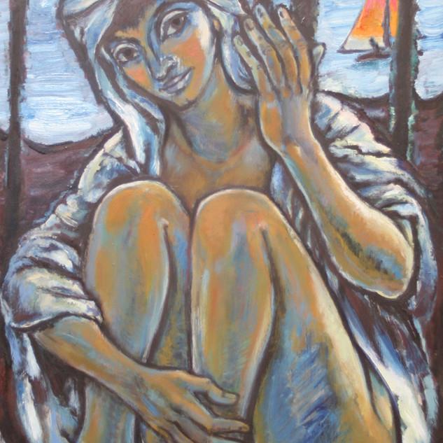 Portrait Cornelia 1984 Öl auf Tannenholz