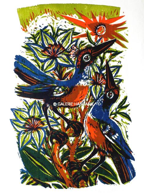 Vögel und Blumen  zu Matth. 6 1983 76 x 53 cm
