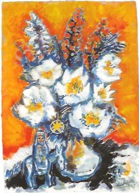 Madonna unter den Blumen, Gouache 1988