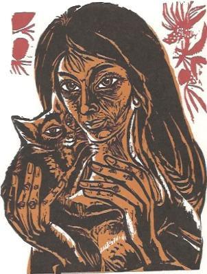 Mädchen mit Katze, 1970