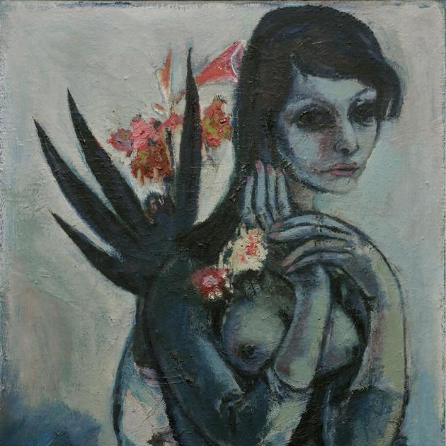 Dame mit Blumen 1963 Öl auf Leinwand