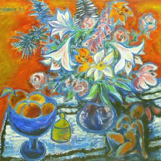 Blumenstillleben 1976 Acryl auf Leinwand