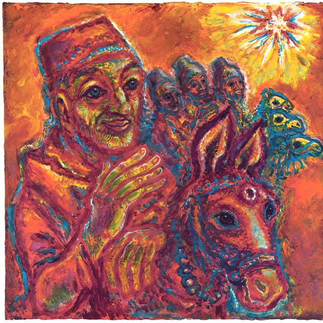 Der vierte König 1987 Acryl auf Büttenpapier
