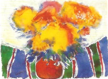 Blumen auf der Streifendecke, Gouache 1983