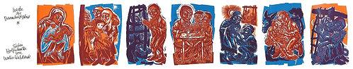 Leporello: Werke der Barmherzigkeit, Sieben Holzschnitte 1991