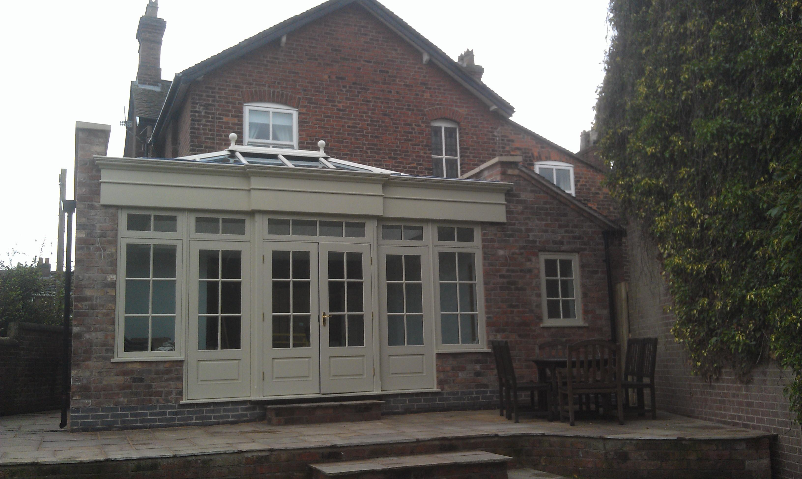 Hardwood, cheshire brick orangery