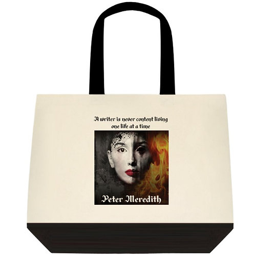 "Illusion of Hell Two-Tone Cotton Tote Bag: 18"" x 15"" x 5"""