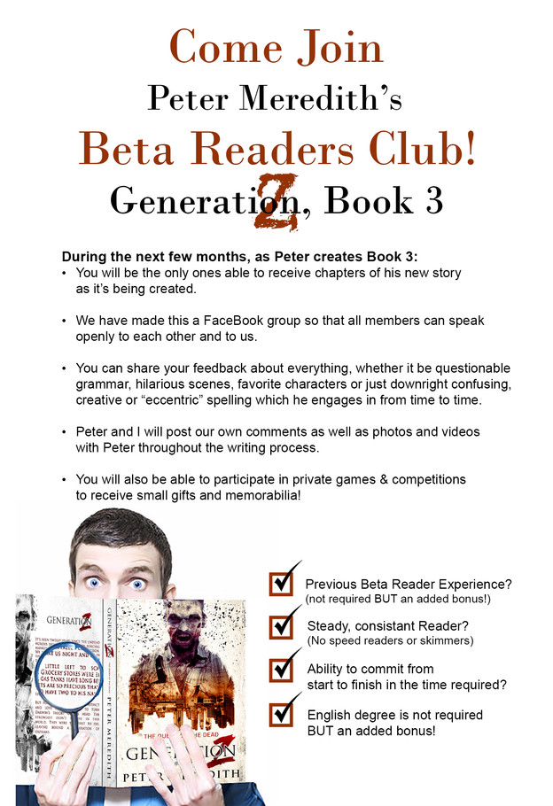 Join Peter's 1st Beta Reader's Book Club!