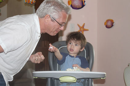 Author Peter Meredith with his grandson