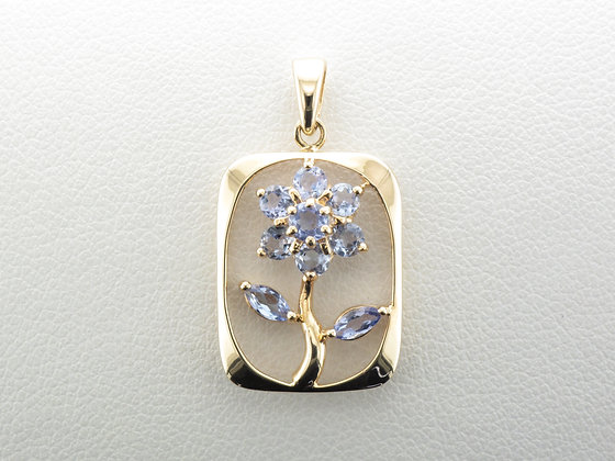 Tanzanite Flower Pendant, 14k Yellow Gold