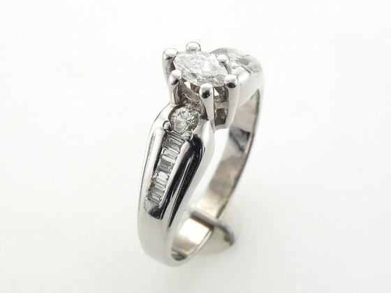 0.50ctw Marquise Diamond Engagement Ring, 14 Karat White Gold