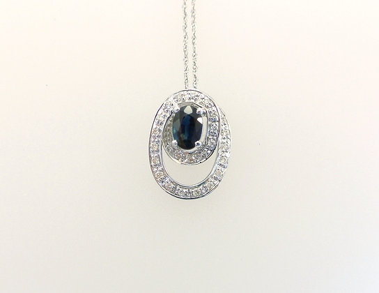 14k White Gold, Sapphire, and Diamond Melee Pendant with Chain