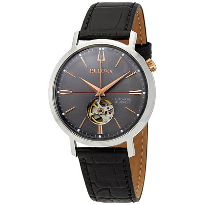 Bulova Aerojet Men's Black Dial Black Strap Classic Watch 98A187
