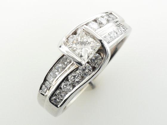 1.70ctw Princess Cut Diamond Engagement Ring, 14k White Gold
