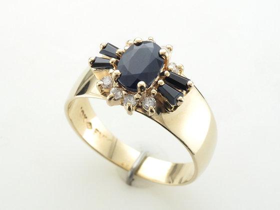Blue Sapphires & Diamonds, Fashion Ring, 10k Yellow Gold