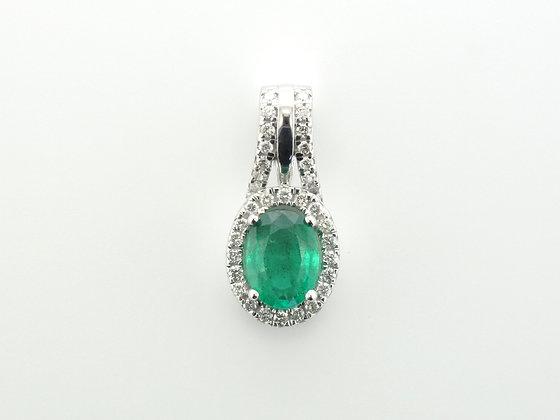 Emerald & Diamond Halo Pendant, 14k White Gold