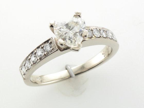 0.75ct Heart Diamond Engagement Ring, 14 Karat White Gold