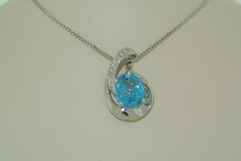 14k white gold swiss blue topaz diamond pendant front 14k white gold swiss blue topaz diamond pendant aloadofball Image collections