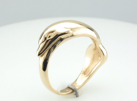 Dolphin Fashion Ring, 14k Yellow Gold