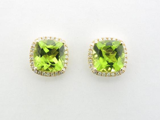 Peridot & Diamond Halo Stud Earrings, 14k Yellow Gold