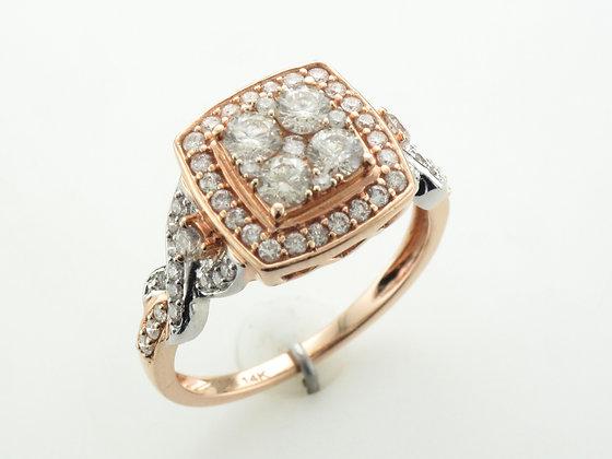 1.00ctw Round Diamond Halo Ring, 14 Karat Two-Tone Gold