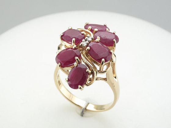 Ruby & Diamond Fashion Ring, 14k Yellow Gold