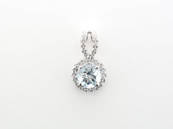 Aquamarine & Diamond Halo Pendant, 14k White Gold