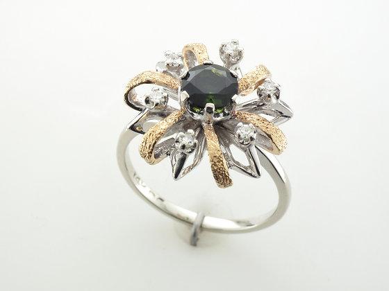 Tourmaline & Diamond Fashion Ring, 14k Two-tone Gold