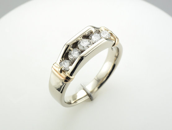 1.00ctw Mens Diamond Ring, 14k White & Yellow Gold