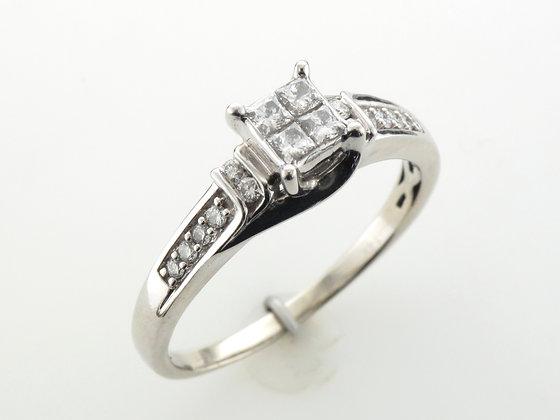 0.65ctw Princess Cut Engagement Ring, 14 Karat White Gold